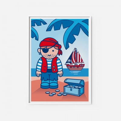 Kinderzimmerbild Pirat Poster - Poster Kinderzimmerdekoration