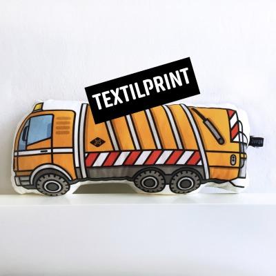 Textilprint zum selber nähen Müllwagen