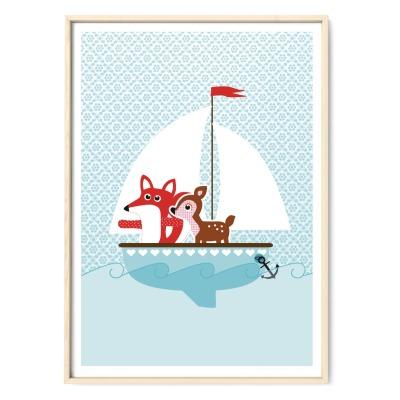 Plakat Poster Fuchs und Reh auf