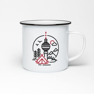 Emailletasse mit Berliner Fernsehturm Emaillebecher Tasse