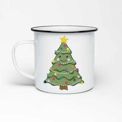 Emailletasse Weihnachstbaum Emaillebecher Tasse Merry Christmas