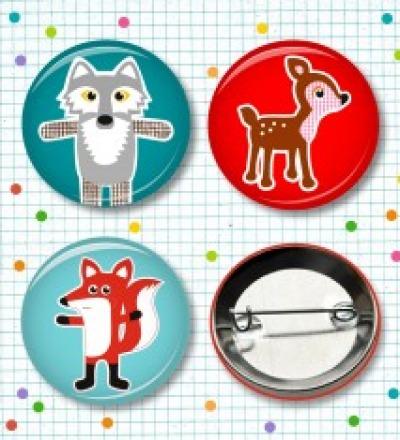 Buttonset Fuchs Wolf  Reh - 3 Stück