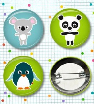 Buttonset Koala, Panda & Pingu - 3 Stück