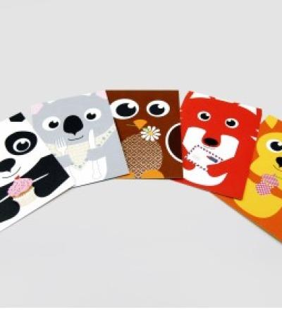 5 Postkarten, Fuchs, Panda, Koala, Spatz und Eichhörnchen - Postkartenset