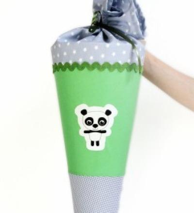 Schultüte Panda grau-grün 70cm