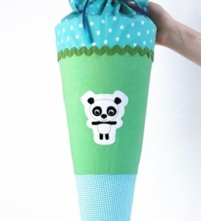 Schultüte Panda türkis-grün, 70cm