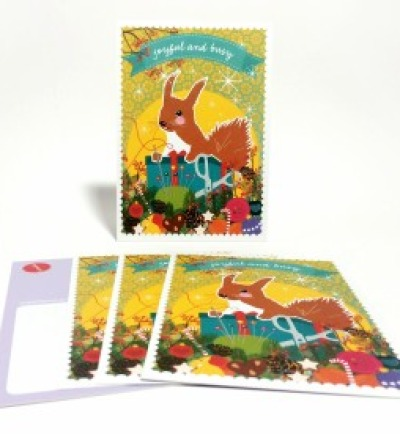 Weihnachtskarten DIY Eichhoernchen / 5 Karten