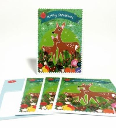 Weihnachtskarten Rehlein / 5 Karten