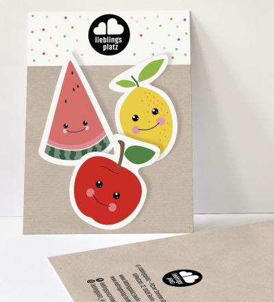 Aufkleberset Obst Apfel Zitrone Melone Sticker Outdooraufkleber Sticker-Set Melonenaufkleber Apfelaufkleber - Outdooraufkleber, vegan