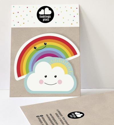Aufkleberset Wolke und Regenbogen Sticker Outdooraufkleber Sticker-Set Regenbogenaufkleber - Outdooraufkleber, vegan