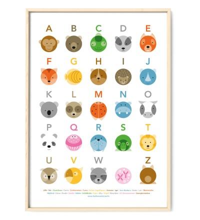 Tier ABC Poster Plakat Animals Kreise