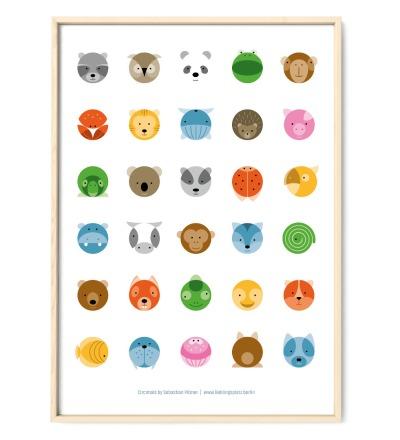 Tier Poster Plakat Animals Kreise - DIN A3