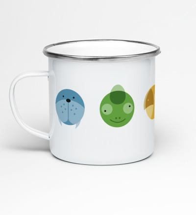 Emailletasse Circimals Tiere Emaillebecher Tasse Tierbilder Kinderzimmer Kindertasse Tasse für Kinder - Becher mit Tiermotiven