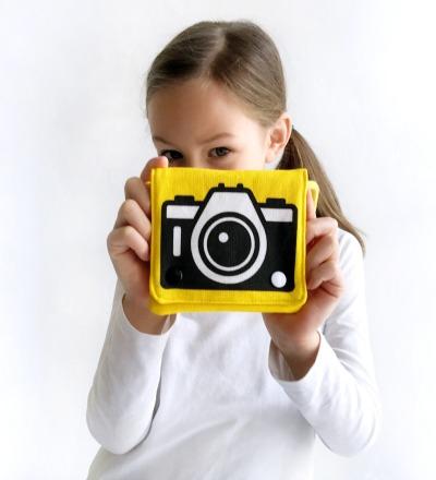gelbe Umhängetasche mit Kamera Motiv, Fototasche, Beutel