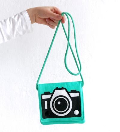 tuerkise Umhaengetasche mit Kamera-Motiv Fototasche Motivtasche