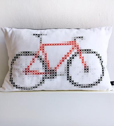 Fahrrad Kissen Fixie Bike Kreuzstich - mit Bezug und Inlay