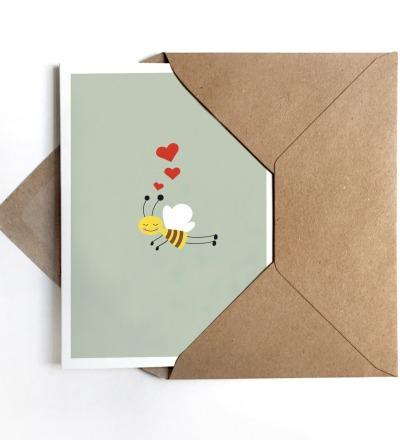 Grußkarte Biene, Glückwunschkarte mit Biene - Grußkarte A6