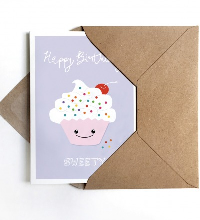 Grußkarte Cupcake, Klappkarte, Geburtstagskarte