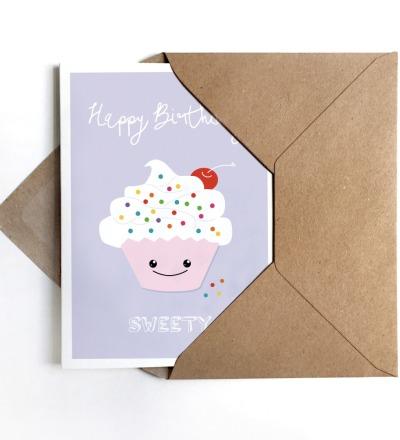 Grußkarte Cupcake Klappkarte Geburtstagskarte