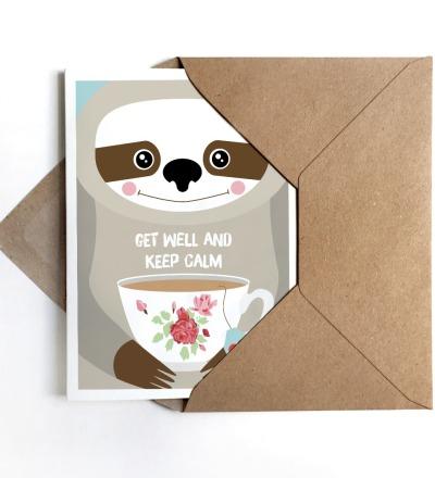 Grußkarte Feel better ..., Karte Gute Besserung, Faultierkarte - Grußkarte DIN A6