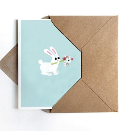Grußkarte Bunny, Glückwunschkarte mit Hase