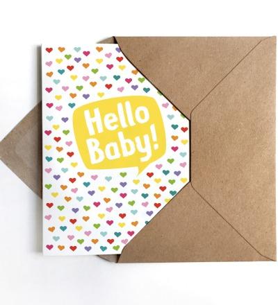 Grußkarte Hello Baby, Glückwunschkarte zur Geburt - Grußkarte zur Geburt A6