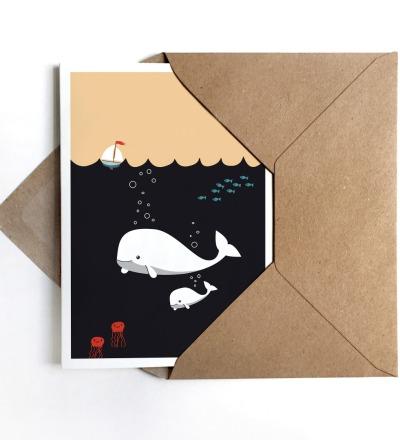 Grußkarte Moby Dick, Glückwunschkarte zur Geburt oder zur Taufe - Grußkarte DIN A6