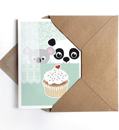 Grußkarte Panda & Koala Geburtstagskarte