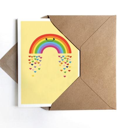 Grußkarte Regenbogen, Klappkarte, Regenbogenkarte