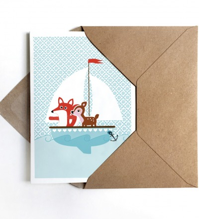 Grußkarte Fuchs und Reh auf großer Fahrt