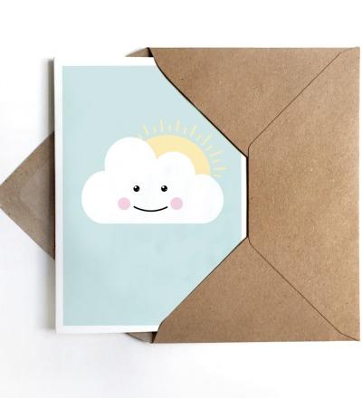 Grußkarte Schönwetterwolke, Klappkarte, Wolkenkarte