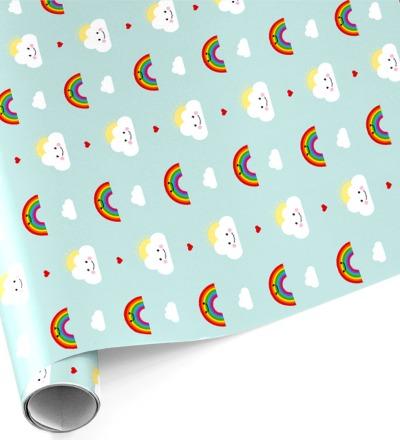 3 Bögen Geschenkpapier Wolke & Regenbogen