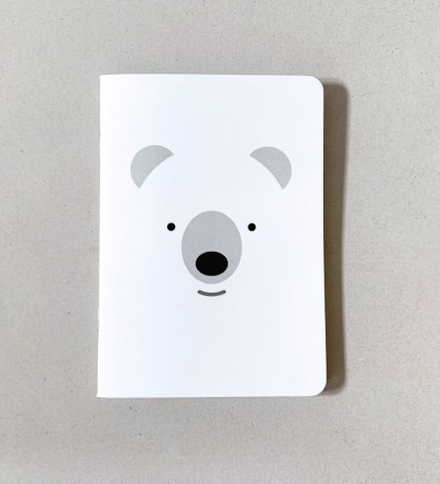 Notizheft Eisbär, DIN A6, Vokabelheft, Notizbuch - liniert Naturpapier