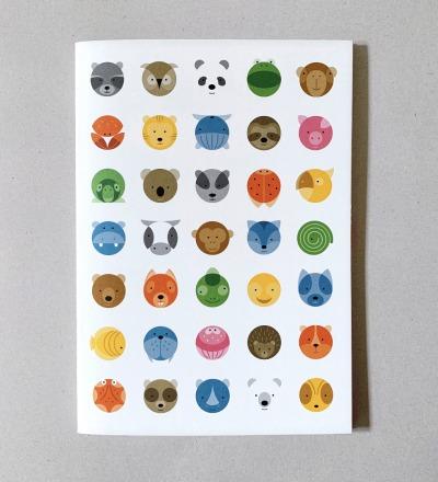 Notizheft Circimals, DIN A5, Notizbuch, Skizzenbuch Heft Schulheft Tiere Tierbilder Heft mit Tieren - Notizheft blanko Naturpapier