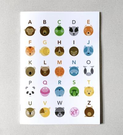 Schulheft Tier ABC, DIN A5, Notizbuch, Skizzenbuch Heft Schulheft Tiere Tierbilder Heft mit Tieren - Notizheft karierte Innenseiten