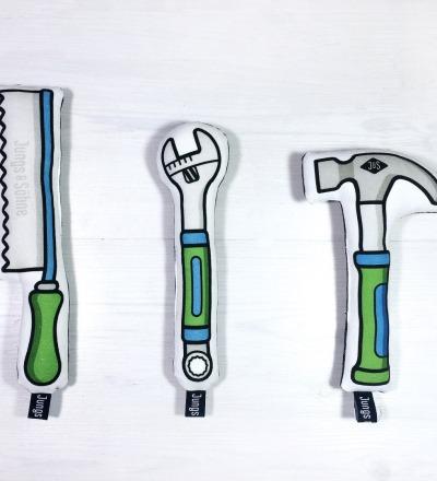 Werkzeug im 3er Set mit Rassel in grün-blau - NEU mit Frottee