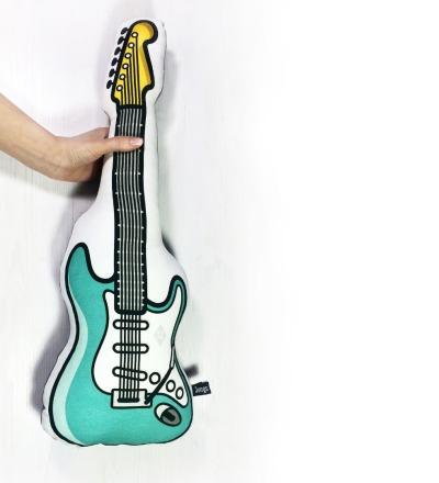 E-Gitarre Kissen in türkis mit Frotteerückseite - großes Kuschelkissen für Musikfans und Rocker