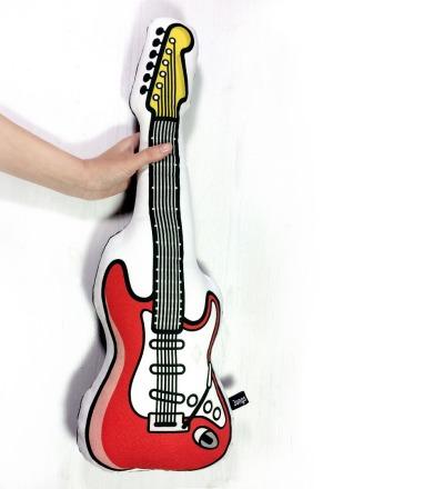 E-Gitarre Kissen in rot mit Frotteerückseite - großes Kuschelkissen für Musikfans und Rocker