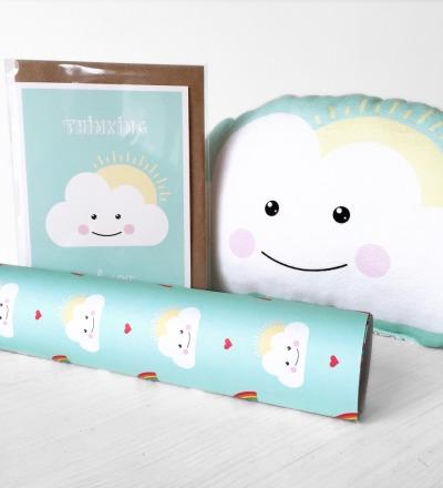 Geschenkt-Set Wolke Rassel Klappkarte Geschenkpapier im
