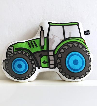 Traktor Kissen grün , Baufahrzeug, Trekker, Landarbeit - mit grauem Frottee