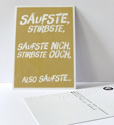 Postkarte säufste stirbste Berliner Mundart