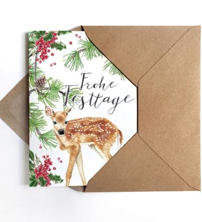 Weihnachtskarte Reh