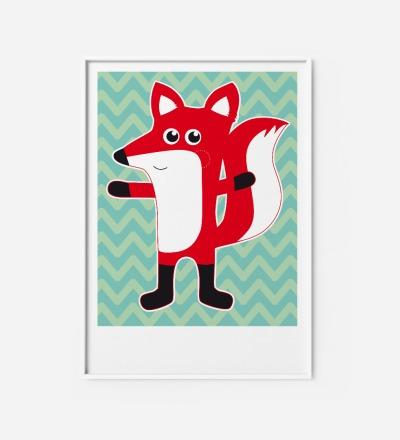 Kinderzimmerbild Fuchs, Poster, Fuchsposter - Poster Kinderzimmerdekoration