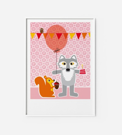 Kinderzimmerbild Wolf und Hörnchen, Poster - Poster Kinderzimmerdekoration