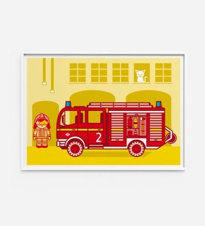Kinderzimmerbild Feuerwehr Poster - Poster Kinderzimmerdekoration