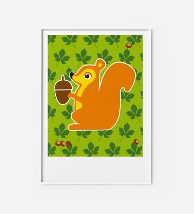 Kinderzimmerbild Eichhörnchen, Poster - Poster Kinderzimmerdekoration