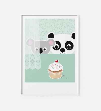 Kinderzimmerbild Panda & Koala, Poster - Poster Kinderzimmerdekoration