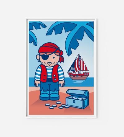 Kinderzimmerbild Pirat, Poster - Poster Kinderzimmerdekoration