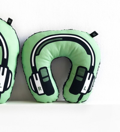 Kopfhoerer Nackenkissen gruen KIDS - Headphone neck pillow