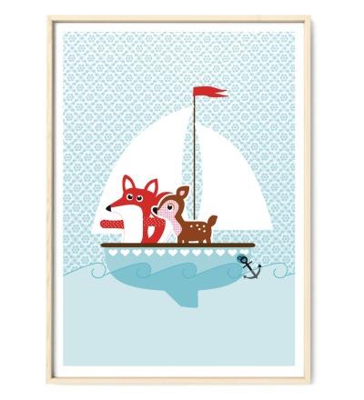 Plakat Poster Fuchs und Reh auf großer Fahrt - DIN A2 Kinderzimmerposter